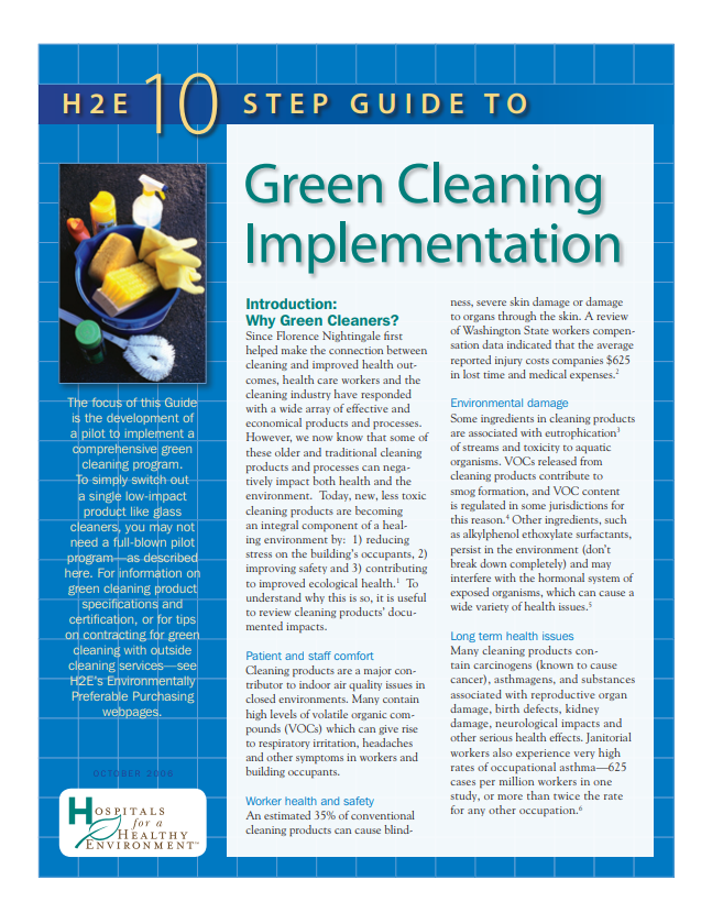 Ten-Step Guide to Green Cleaning Implementation